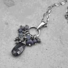 Kianit, lapis lazuli i szafir subtelny srebrny wisiorek wisiorki