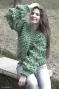 Green grassy bomber swetry mondu kardigan, wełniany, dziergany