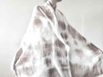 Ciepły wełniany szal krem z karmelem szaliki anna damzyn szal