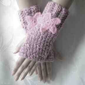 Różowo szare rękawiczki mitenki z różowym kwiatkiem samantha