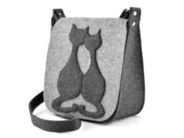 Torebka filcowa - listonoszka dwa koty na ramię green sheep filc