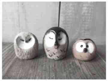 Sówki trio ceramika wylegarnia pomyslow ceramika, sowa, las,