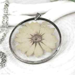 Naszyjnik z kwiatów w cynowej ramce z430 naszyjniki herbarium