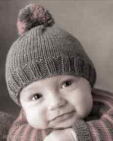 """Czapka """" kolorowy pompon dziane czapka, prezent, dziecięca"""