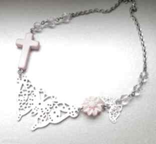 Z motylami naszyjniki judithbijoux naszyjnik, motyl, krzyż
