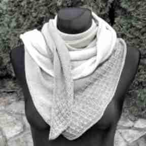 Chusta asymetryczna z bawełną odcienie beżu chustki i apaszki