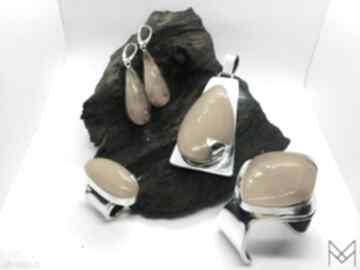 Komplet biżuterii srebrnej z bursztynem bransoleta wisior