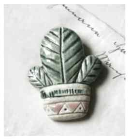 broszki? ceramika broszka kwiat doniczka