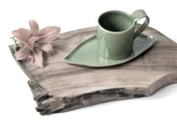 Ręcznie lepiony kubek ceramiczny z podstawką liść ceramika tyka