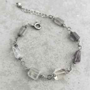 Kolorowe minerały - srebrna bransoletka grey line project