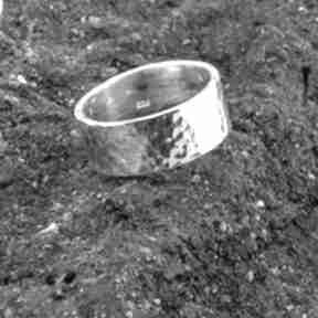 Obrączka - pierścień, srebro 925, młotkowana obrączki loopart