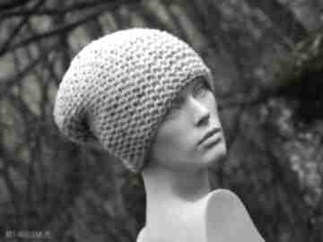 Tweed ecru na prawo grubaśna zimowa czapa czapki aga made by