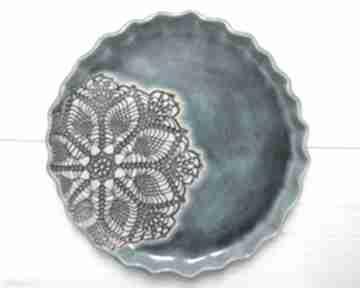 Artystyczny talerz z koronką ceramika ana koronkowy talerz