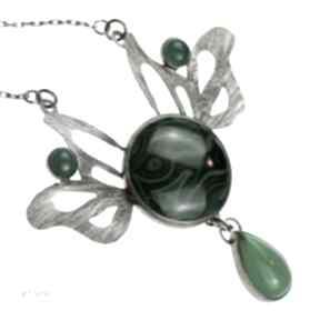 A590 malachitowe westchnienie lotosu naszyjnik srebrny