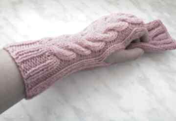 rękawiczki? pudrowe wełniane wełna marsala akrylowe