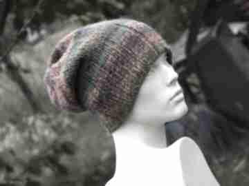 Kolorowa boho czapka - melanż czapki aga made by hand dziergana