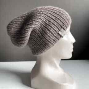 Ręcznie robiona czapka hand made ściągacz 100% alpaka stary róż