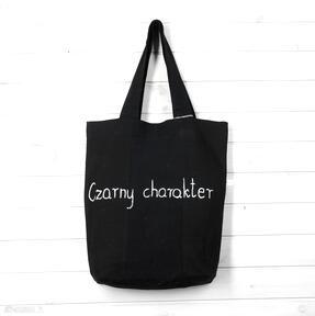 Torba czarny charakter na ramię godeco torba, napis, prezent