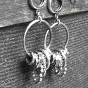 Kolczyki srebrne treendy oksydowane, na prezent, koła, autorskie