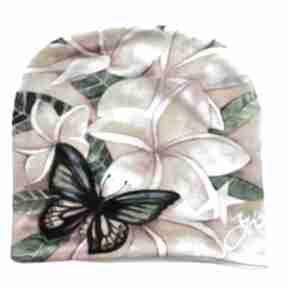 Czapka plumeria czapki katarzyna staryk plumeria, bali, motyl,