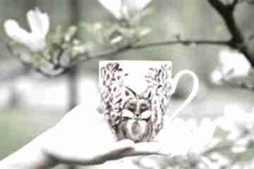 Kubek lis w magnoliach kubki pracownia szafran lis, malowany