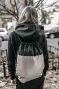 Czarno - pudrowy gawka worek, plecak, pudrowy, metaliczny,