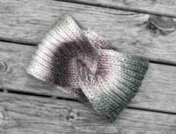 Opaska z węzłem 75% virgin wool opaski aga made by hand kolorowa