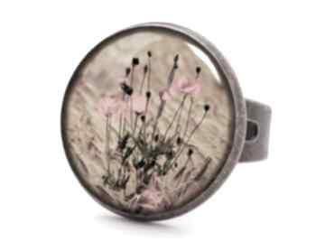 Maki pierścionek regulowany kwiaty polne prezent ręcznie robiony