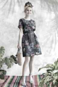 Sukienka granatowa w kwiaty sukienki hanka sukienka, midi