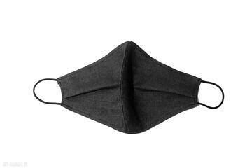 Modna jeansowa maska ochronna grafitowa bawełna maseczki non