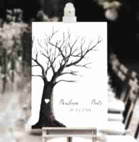 Rustykalne drzewo wpisów gości weselnych 50x70 cm 3 tusze księgi