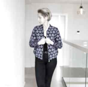 Bomberka damska w kobaltowe liście, bluza z suwakiem nadrukiem