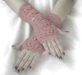 Czerwone ażurowe mitenki rękawiczki samantha mitenki, rękawiczki
