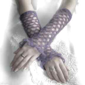 Ażurowe, wrzosowe mitenki rękawiczki samantha mitenki, ażur,