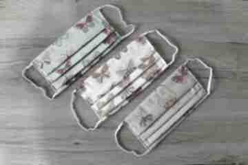 Zestaw maseczek bawełnianych - motylki maseczki torebki