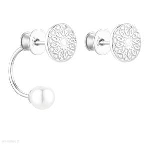 Srebrne asymetryczne kolczyki medaliony z perłami swarovski®