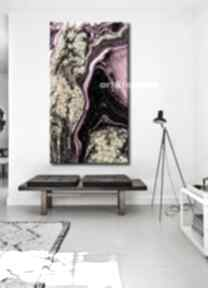 Złocona fuksja - abstrakcyjne obrazy do modnego salonu dekoracje
