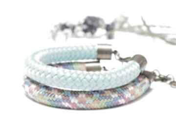 Zestaw dwóch kolorowych bransoletek z liny, damskie kolorowe