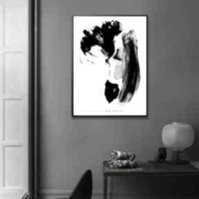 Grafika czarno biała w ramie pierwszy pocałunek 30x40 renata