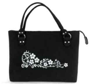Czarna torebka filcowa, niebieskie kwiaty ehomi torebka, torba