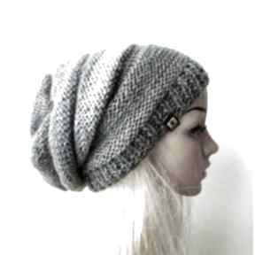 czapki długa czapka w szarościach