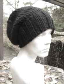 100% wool unisex klasyk czarna zimowa czapa czapki aga made by