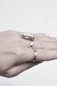 Pierścień z muszelką dziki krolik pierścionek muszelka, srebrny