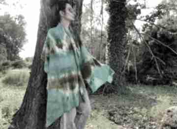 Szal wełniany w zielonościach szaliki anna damzyn szal