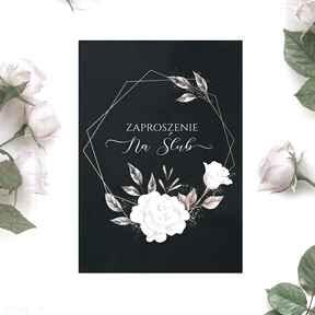 Zaproszenia ślubne z kopertą gotowe, 10 sztuk, glamour, boho