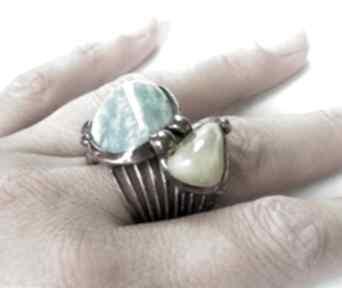 Pierścionek: z amazonitem i jadeitem witrazka kamień-pierścionek