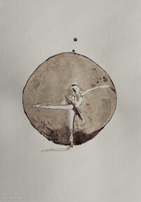 Tancerka kropli kawy - obraz kawą malowany aksinicoffeepainting