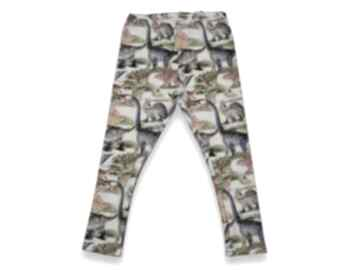 Dinozaury spodnie legginsy dla dziewczynki z pastelowymi