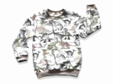 Dinozaury kremowa całoroczna bluza dziecięca, bawełniana