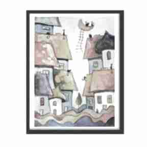 Bajkowe miasteczko-akwarela paulina lebida akwarela, koty